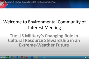 <p><strong>The US Military's Changing Role in Cultural Resource Stewardship in an Extreme-Weather Future</strong></p>