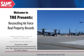 <p><strong>TME Presents</strong>:<br>Reconciling Air Force Real Property Records</p>