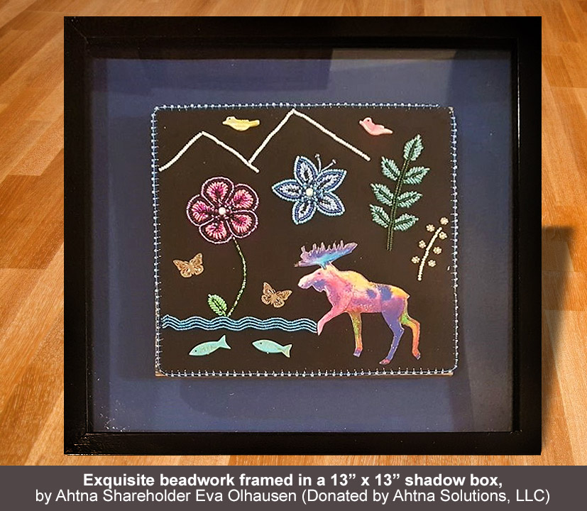 "Grand Prize: Exquisite beadwork framed in a 13"" x 13"" shadow box, by Ahtna Shareholder Eva Olhausen"