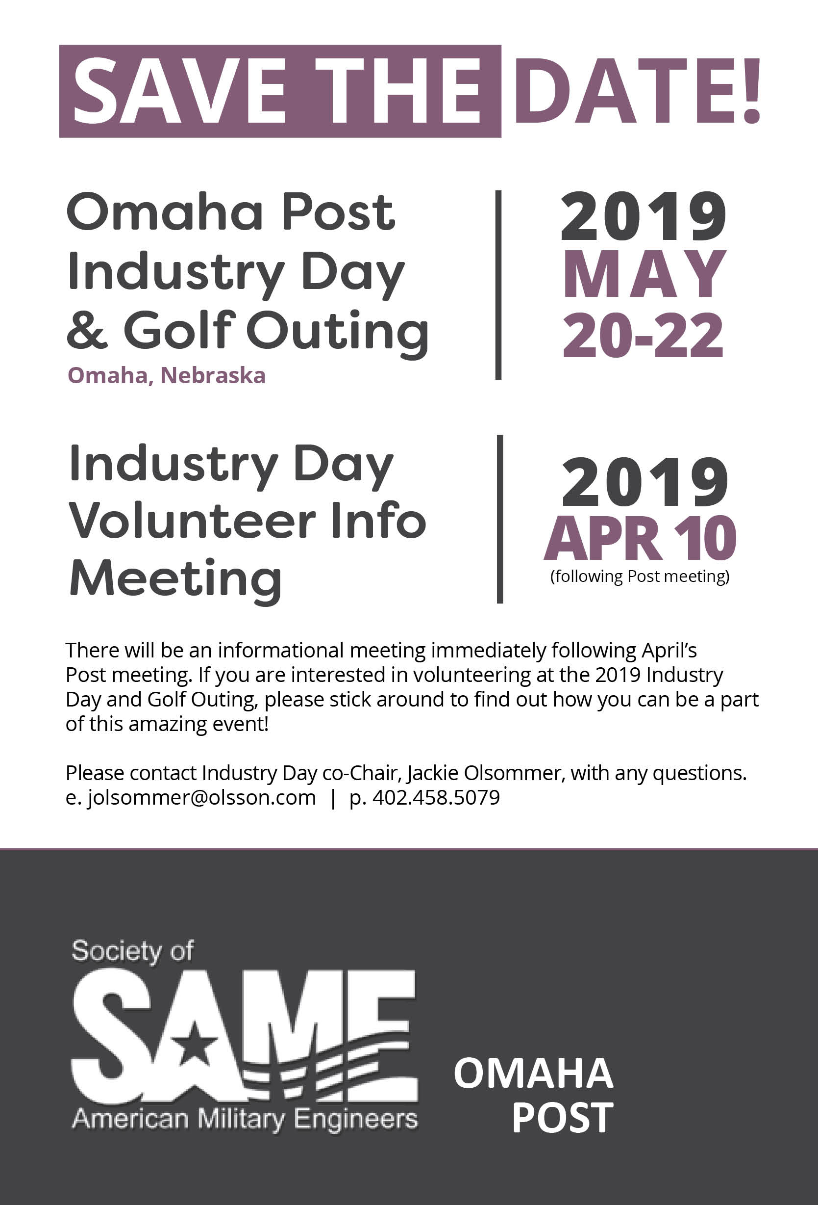 2019 Industry Day Save the Date Flyer